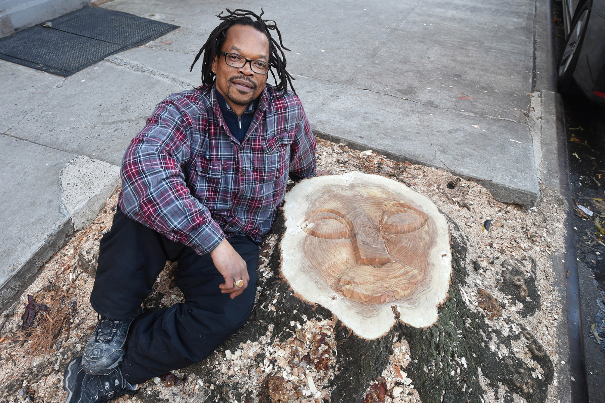 East Village man Ian Dave Knife turns NYC tree stumps into street art